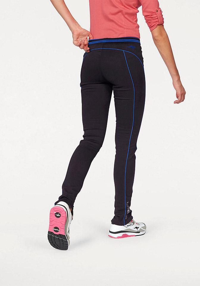 Спортивные брюки OttoДжеггинсы<br>Женские брюки KangaROOS для спортивных занятий. Эластичный пояс в полоску, контрастный кант вдоль брючин и сзади, молнии внизу, логотип, заниженный притачной пояс, неприхотливая в уходе ткань. Крой подчеркивает фигуру.<br><br>Size DE: 32<br>Colour: синий<br>Gender: Женский<br>Age: Взрослый<br>Material: Отделка: 95% полиэстер / 5% эластан;Верх: 100% прочие волокна