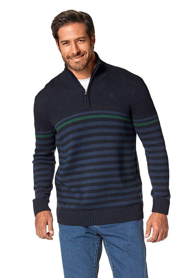 Пуловер-поло OttoПуловеры<br>Пуловер из мягкого трикотажа с высоким содержанием хлопка - отличный выбор для мужского гардероба. Модель с рисунком в полоску и воротником-стойкой на молнии подчеркнет спортивную динамичность облика. Воротник и широкая резинка по краям - в рубчик. На груди небольшая вышивка-логотип в тон. Пуловер отлично сочетается с джинсами и станет вашим верным спутником на каждый день. Длина сзади ок. 72 см (размер М).<br><br>Size DE: XXXL<br>Colour: синий<br>Gender: Мужской<br>Age: Взрослый<br>Material: Верх: 50% хлопок / 50% полиакрил