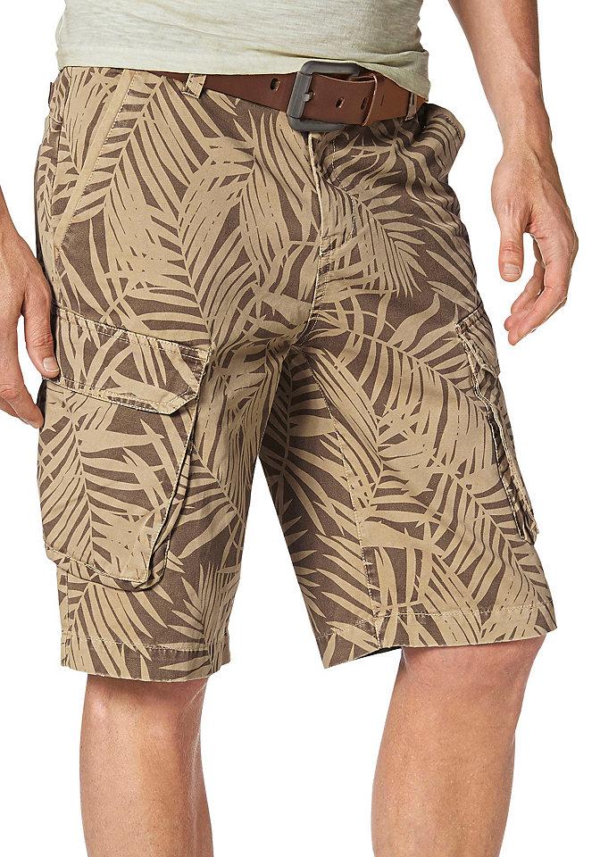 Бермуды Care OttoБрюки<br>В летнюю жару хочется отказаться от плотных джинсов. Отличной заменой станут удобные бермуды из натурального хлопка с модным растительным рисунком. Они прекрасно подойдут как для прогулок, так и для пляжного отпуска. Множество карманов позволяет взять с собой много нужных мелочей: есть 2 больших кармана карго на липучке, по 2 кармана по бокам и сзади. Великолепно сочетаются с любой футболкой.<br><br>Size DE: 34<br>Colour: коричневый<br>Gender: Мужской<br>Age: Взрослый<br>Material: Верх: 100% хлопок