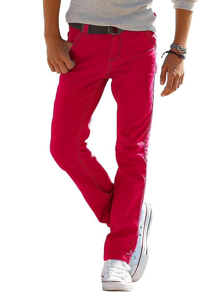 Брюки OttoОдежда для праздника<br>Обязательный компонент гардероба для мальчика - брюки из твила. Прямая модель из чистого хлопка прекрасно комбинируется с любыми футболками и рубашками благодаря своей лаконичности. Пояс внутри можно регулировать. Модными штрихами служат потертый эффект и декоративные швы. Застегиваются на пуговицу и молнию. Материал: 100% хлопок.<br><br>Size DE: 128<br>Colour: красный<br>Gender: Мужской<br>Age: Детский<br>Material: Верх: 100% хлопок