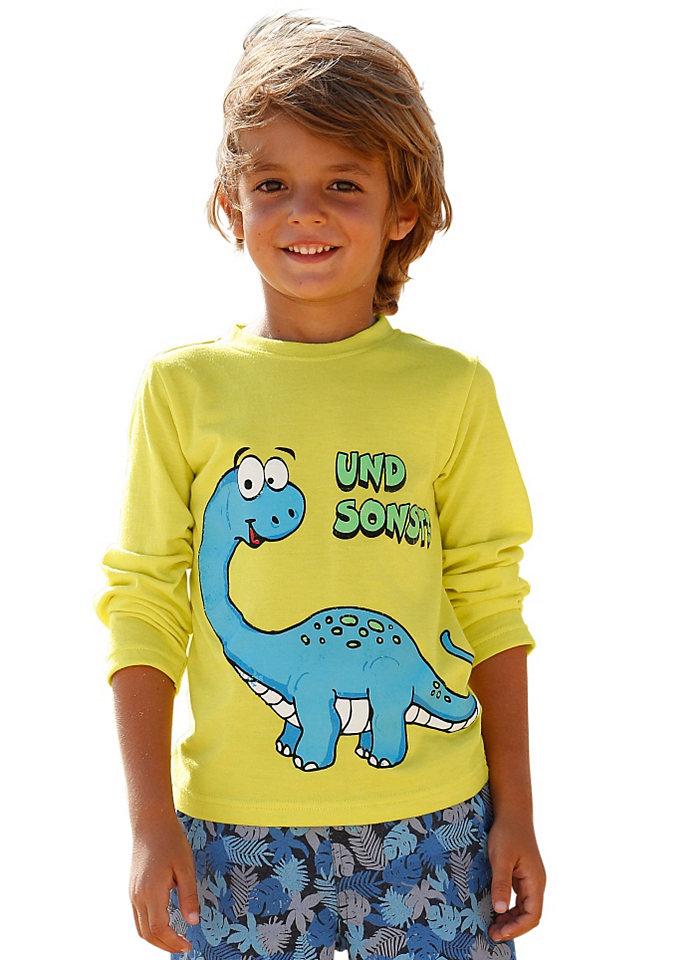 Футболка с длинными рукавами OttoФутболки и поло<br>Удобная базовая футболка из ткани с хлопком - модель, которая понравится и ребенку, и маме. А если футболка еще и украшена веселым принтом Динозавр, ребенок будет в полном восторге. Повседневная футболка с круглой горловиной прекрасно смотрится с джинсами. Материал: 65% полиэстер, 35% хлопок.<br><br>Size DE: 116<br>Colour: желтый<br>Gender: Мужской<br>Age: Детский<br>Material: Верх: 65% полиэстер / 35% хлопок
