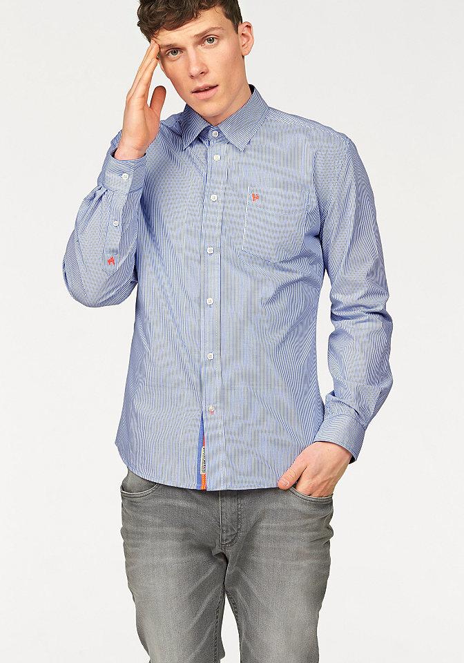Рубашка OttoУличная одежда<br>В полоску. Небольшая вышивка-логотип на нагрудном кармане. Оригинальные акценты неонового оттенка. Мягкий, удобный в уходе материал. Кокетка на спинке, закругленный низ. Узкий покрой.<br><br>Size DE: XL<br>Colour: синий<br>Gender: Мужской<br>Age: Взрослый<br>Material: Верх: 100% хлопок