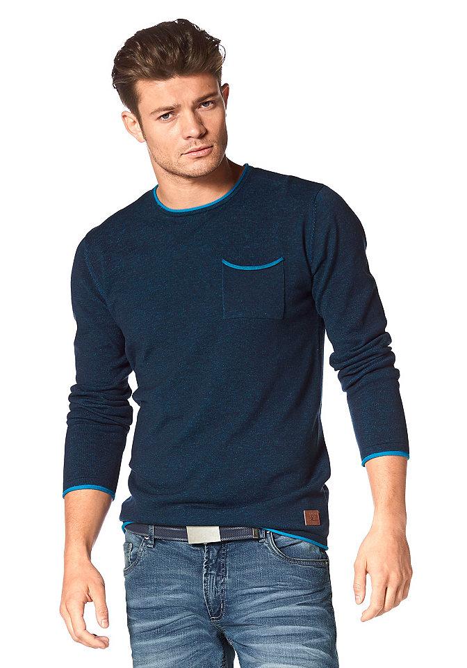 Пуловер OttoУличная одежда<br>Трикотажный пуловер от марки John Devin - отличная основа для кэжуал-комплекта. Контрастная окантовка по краям создает легкий эффект 2 в 1. Меланжевая расцветка и скрученный нижний край подчеркивают непринужденный характер модели. Прилегающий силуэт искусно демонстрирует фигуру, а благодаря высокому содержанию хлопка носить пуловер очень комфортно.<br><br>Size DE: L<br>Colour: синий<br>Gender: Мужской<br>Age: Взрослый<br>Material: Верх: 50% хлопок / 50% полиакрил