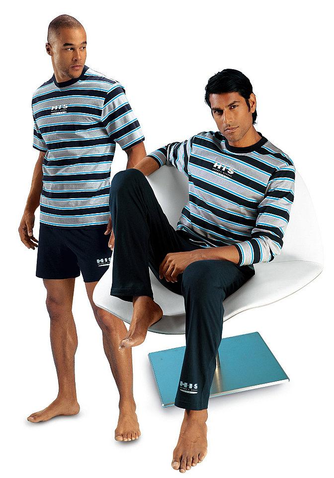 Пижама, H.I.S (2 шт.) OttoНочная одежда<br>В комплекте из 2 штук: короткая и длинная модель. Верх с круглым вырезом, набивными полосами и логотипом, однотонные брюки с небольшим логотипом на левой штанине внизу. Из чистого хлопка.<br><br>Size DE: 48<br>Colour: синий<br>Gender: Мужской<br>Age: Взрослый<br>Material: Верх: 100% хлопок