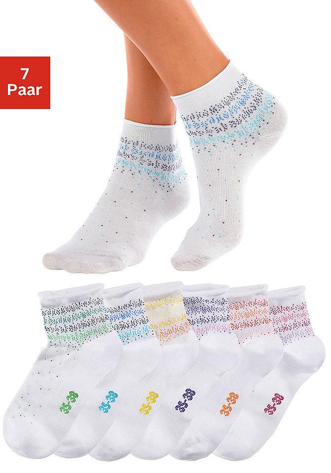 Носки, 7 пар OttoHоски<br>Очень удобные носки от модной марки H.I.S. В наборе 7 пар различных раскрасок - своя пара для каждого дня недели. Края носков скручены. Отлично подходят к спортивной обуви. Материал: 76% хлопок, 22% полиамид, 2% эластан.<br><br>Size DE: 39<br>Colour: белый<br>Gender: Женский<br>Age: Взрослый<br>Material: Верх: 76% хлопок / 22% полиамид / 2% эластан