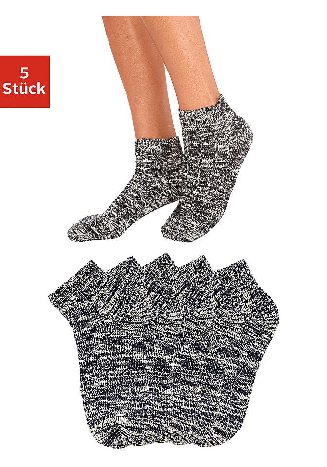 Короткие носки, 5 пар OttoHоски<br>Удобные короткие носки от известной марки Arizona. В наборе 5 пар модных меланжевых тонов. Ткань из фасонной нити с высокой долей хлопка. Можно носить с кроссовками. Материал: 94% хлопок, 5% полиамид, 1% эластан.<br><br>Size DE: 35<br>Colour: черный<br>Gender: Женский<br>Age: Взрослый<br>Material: Верх: 94% хлопок / 5% полиамид / 1% эластан