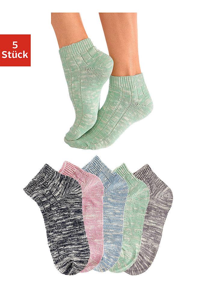 Короткие носки, 5 пар OttoHоски<br>Удобные короткие носки от известной марки Arizona. В наборе 5 пар модных меланжевых тонов. Ткань из фасонной нити с высокой долей хлопка. Можно носить с кроссовками. Материал: 94% хлопок, 5% полиамид, 1% эластан.<br><br>Size DE: 35<br>Colour: разноцветный<br>Gender: Женский<br>Age: Взрослый<br>Material: Верх: 94% хлопок / 5% полиамид / 1% эластан