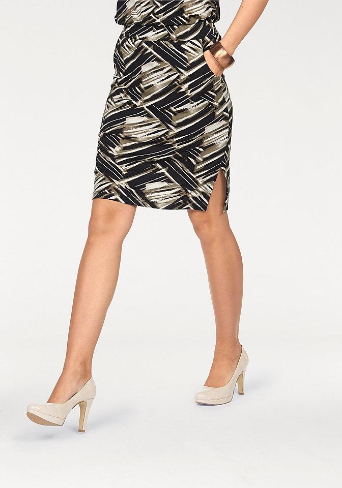 Юбка OttoЮбки<br>Изюминка для вашего строгого элегантного гардероба - прямая юбка с необычным принтом от марки Bruno Banani. Стрейчевая вискозная ткань на подкладке облегает контуры силуэта. Пояс классической высоты на резинке прекрасно сидит. Шлицы по бокам и карманы подчеркивают демократичный стиль. Длина составляет примерно 54 см. Не имеет застежки.<br><br>Size DE: 38<br>Colour: разноцветный<br>Gender: Женский<br>Age: Взрослый<br>Material: Подкладка: 100% полиэстер;Верх: 95% вискоза / 5% эластан