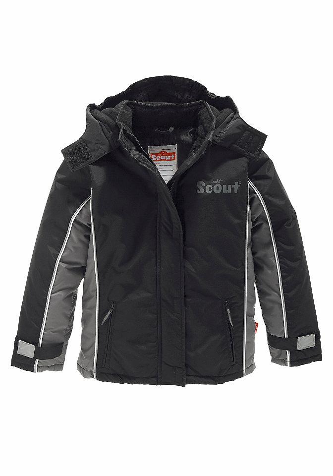 Лыжная куртка OttoБрюки<br>Функциональная отделка: Рукава с застёжкой «липучка» регулируются по ширине. Защита от ветра снаружи и внутри. Карманы на молнии, светоотражающая окантовка и небольшой рисунок «Scout» на линии груди. Внутренний карман и этикетка с названием бренда. Поверх застёжки на молнию расположена планка с застёжкой «липучка», которая также защищает подбородок. Отстёгивающийся капюшон с подкладкой из флиса. Прочный лицевой материал из 100 % полиамида. Чёрный цвет: полностью из 100 % полиэстера. Подкладка и утеплитель из 100 % полиэстера.<br><br>Size DE: 164<br>Colour: черный<br>Age: Детский<br>Material: Подбивка: 100% полиэстер;Подкладка: 100% полиэстер;Верх: 100% полиэстер