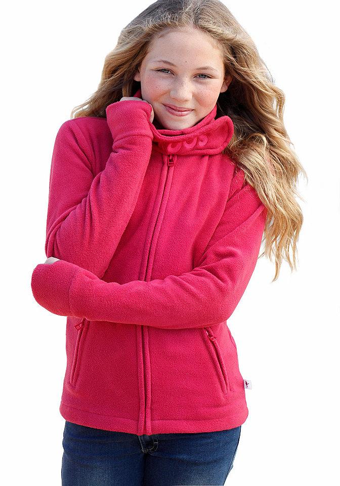 Куртка из флиса, Kangaroos OttoКуртки и пальто<br>Куртка из флиса для девочек от KANGAROOS. Тёплая куртка из мягкого флиса с широким воротником «стойка». Вышитый логотип «KANGAROOS» на широком воротнике. Два втачных кармана с застёжкой на молнию спереди. Удлинённые рукава отделаны отверстиями для большого пальца по нижнему краю, чтобы рукам было тепло. То, что надо для холодных дней. 100 % полиэстера.<br><br>Size DE: 140<br>Colour: розовый<br>Age: Детский<br>Material: Верх: 100% полиэстер