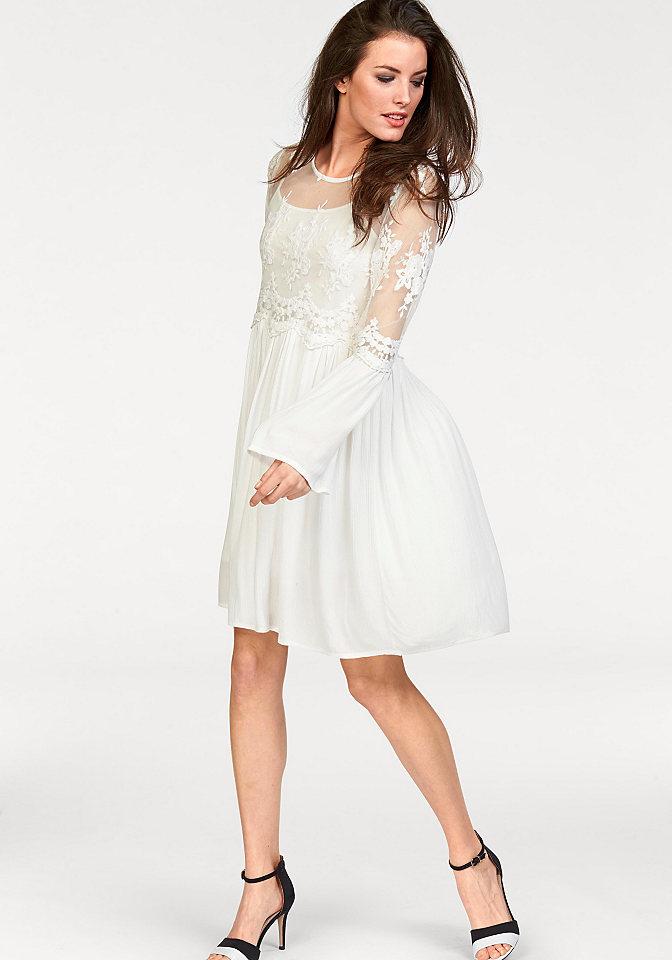 Платье 2 в 1 OttoПлатья- блузки<br>Невероятно нарядное платье от Aniston поможет вам создать запоминающийся праздничный образ! Верх украшен прозрачным кружевом. Расклешенная юбка (сзади длиннее) и края рукавов выполнены из мягкого крепа. Внутри комфортное платье из приятного для тела джерси с узкими бретелями. Длина для размера 36 ок. 90 см.<br><br>Size DE: 36<br>Colour: белый<br>Gender: Женский<br>Age: Взрослый<br>Material: Кружево: 62% хлопок / 38% полиамид;Комбинация: 100% полиэстер;Верх: 100% вискоза