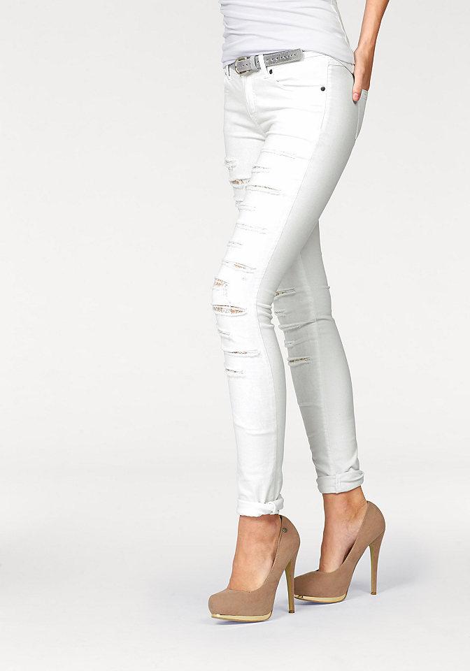 Джинсы OttoСтиль эффекты потёртости<br>Даже привычные дудочки могут удивить - как, например, джинсы от марки Melrose, украшенные эффектными разрезами на кружевной подкладке: привлекательно и провокационно. Джинсы скинни Melrose идеально подходят для вечеринки, особенно в сочетании с блестящим топом и туфлями на шпильке.<br><br>Size DE: 38<br>Gender: Женский<br>Age: Взрослый<br>Material: Кружево: 95% полиэстер / 5% эластан;Верх: 97% хлопок / 3% эластан