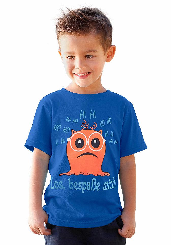 Футболка OttoФутболки и поло<br>Детская хлопковая футболка kidsworld - безусловный маст-хэв для повседневного стиля вашего ребенка. Стандартный прямой фасон с круглой горловиной и короткими рукавами разбавляется забавным мотивом с надписью. Джерси из 100% хлопка является гарантом максимального комфорта.<br><br>Size DE: 92<br>Age: Детский<br>Material: Верх: 100% хлопок