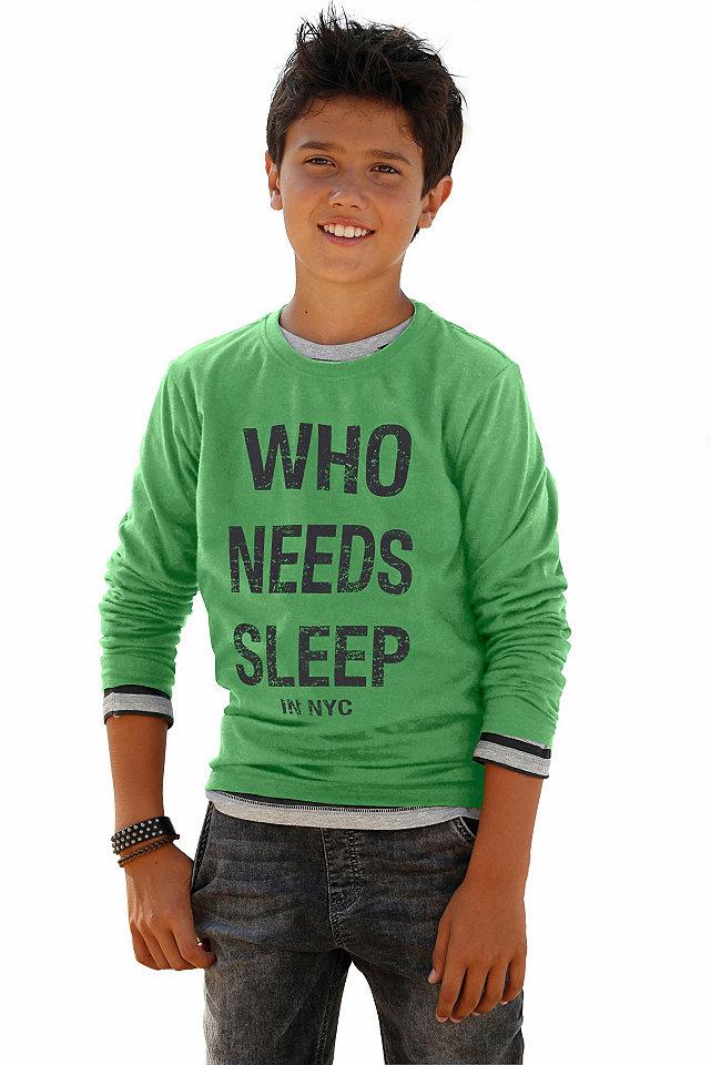 Футболка с длинными рукавами WHO NEEDS SLEEP OttoФутболки и поло<br>Одежда в спортивном стиле больше всего нравится детям: футболка с длинными рукавами не станет исключением - принт-надпись поднимет настроение, а мягкий чистый хлопок и удобная прямая модель с круглой горловиной и длинными рукавами обеспечат максимальный комфорт. Футболка идеально подходит к джинсам. Материал: 100% хлопок.<br><br>Size DE: 176<br>Colour: зеленый<br>Gender: Мужской<br>Age: Детский<br>Material: Верх: 100% хлопок