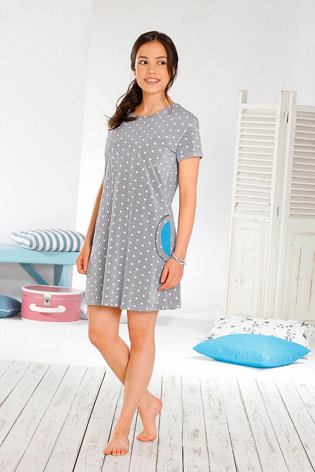 Ночная сорочка OttoЖенская ночная рубашка от марки Arizona покоряет очаровательным дизайном - прежде всего, нежным узором в горох и контрастной отделкой боковых карманов. Круглая горловина, рукава со стильными отворотами придают дополнительную актуальность модели. Натуральный хлопок и свободный крой позаботятся о вашем комфорте. Материал: 100% хлопок.<br><br>Size DE: 146<br>Colour: синий<br>Gender: Женский<br>Age: Детский<br>Material: Верх: 100% хлопок