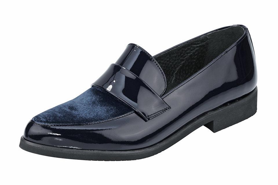 Слиперы OttoБотиночки<br>Кожаные слиперы - превосходный вариант повседневной обуви для женщин! Благодаря элегантному дизайну и благородному блеску лакированной кожи они искусно впишутся в строгий офисный костюм, а фактурная вставка из текстиля на мыске добавляет легкий оттенок непринужденности и позволяет комбинировать их с джинсами. Широкий низкий каблук (ок. 2,5 см) и внутренняя отделка из натуральной кожи обеспечат оптимальный комфорт во время носки. Вам нравится элегантность с нотками спортивного шика? Тогда купить эти женские слиперы Вам просто необходимо!<br><br>Size DE: 41<br>Colour: синий<br>Gender: Женский<br>Age: Взрослый