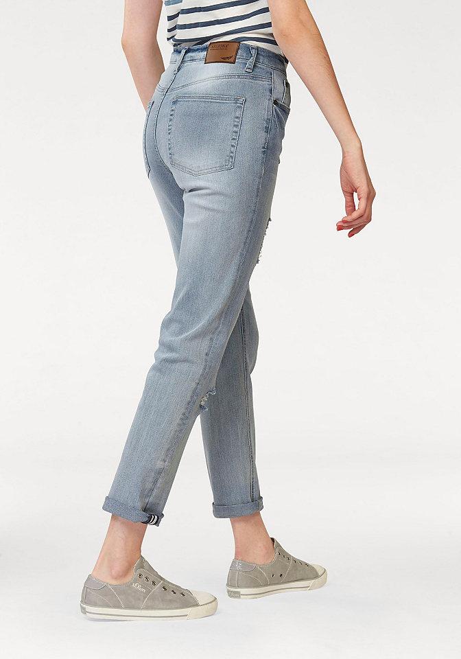 Джинсы OttoСтиль эффекты потёртости<br>Стильные джинсы от бренда Arizona в стиле 90-х прекрасно дополнят любой повседневный гардероб. Актуальные потертости, «рваный» эффект и складки придают модели динамичности и оригинальности. Изящная отстрочка, удобная линия талии, петли для ремня и пять карманов делают джинсы оптимально комфортными. Модель превосходно сидит, благодаря мягкому дениму с содержанием хлопка и эластана. Джинсы  составят отличные комбинации в стиле гранж с массивной обувью на высокой платформе, широкими свитерами, свободными рубашками и кожаными куртками. Джинсы от Arizona – для тех, кто не боится смелых сочетаний в одежде!<br><br>Size DE: 36<br>Colour: синий<br>Gender: Женский<br>Age: Взрослый<br>Material: Верх: 98% хлопок / 2% эластан