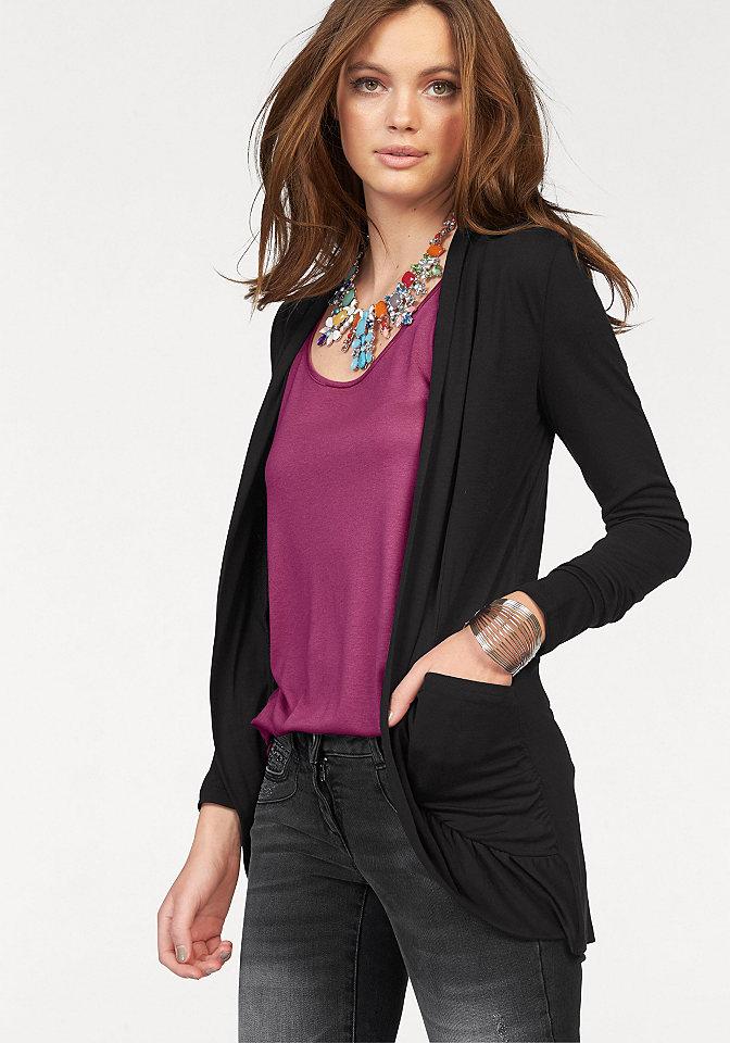 Кардиган OttoСпортивные куртки<br>Спереди карманы с изящной драпировкой. Можно носить нараспашку. Длина ок. 76 см. Мягко струящийся материал из 100 % вискозы.<br><br>Size DE: 36<br>Colour: черный<br>Gender: Женский<br>Age: Взрослый<br>Material: Верх: 100% вискоза