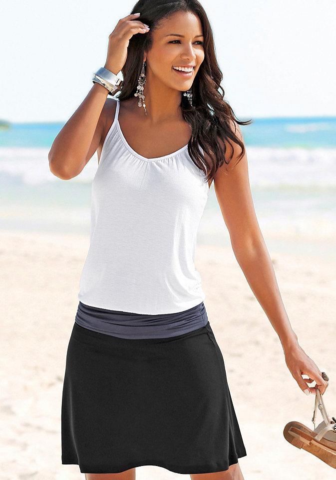 Пляжное платье, Beach Time OttoПлатья и Юбки<br>Выглядит как 2 изделия! Непринуждённое пляжное платье со вставкой на бёдрах и сборками в боковых швах. Длина ок. 94 см. Мягкий материал из 100% вискозы. Серый меланж из 65% вискозы, 35% полиэстера. Примечание к малиновому цвету: цвет на самом деле светлее, чем на иллюстрации.<br><br>Size DE: 40<br>Colour: черный<br>Gender: Женский<br>Age: Взрослый<br>Material: Верх: 100% вискоза