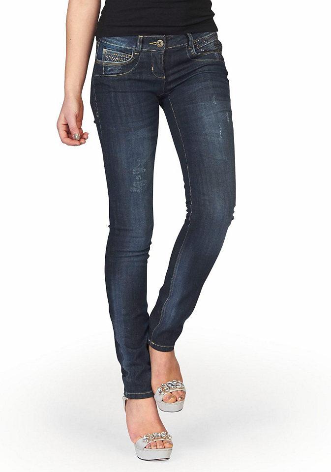 Джинсы с 5-ю карманам OttoДжинсы «дудочки»<br>Модель: джинсы с пятью карманами. Форма брюк: облегающие. Покрой: облегающий. Тип застежки: пуговицы. Посадка: заниженная талия. Рекомендации по уходу: машинная стирка. Состав: 98% хлопок, 2% эластан.<br><br>Size DE: 40<br>Colour: синий<br>Gender: Женский<br>Age: Взрослый<br>Material: Верх: 98% хлопок / 2% эластан