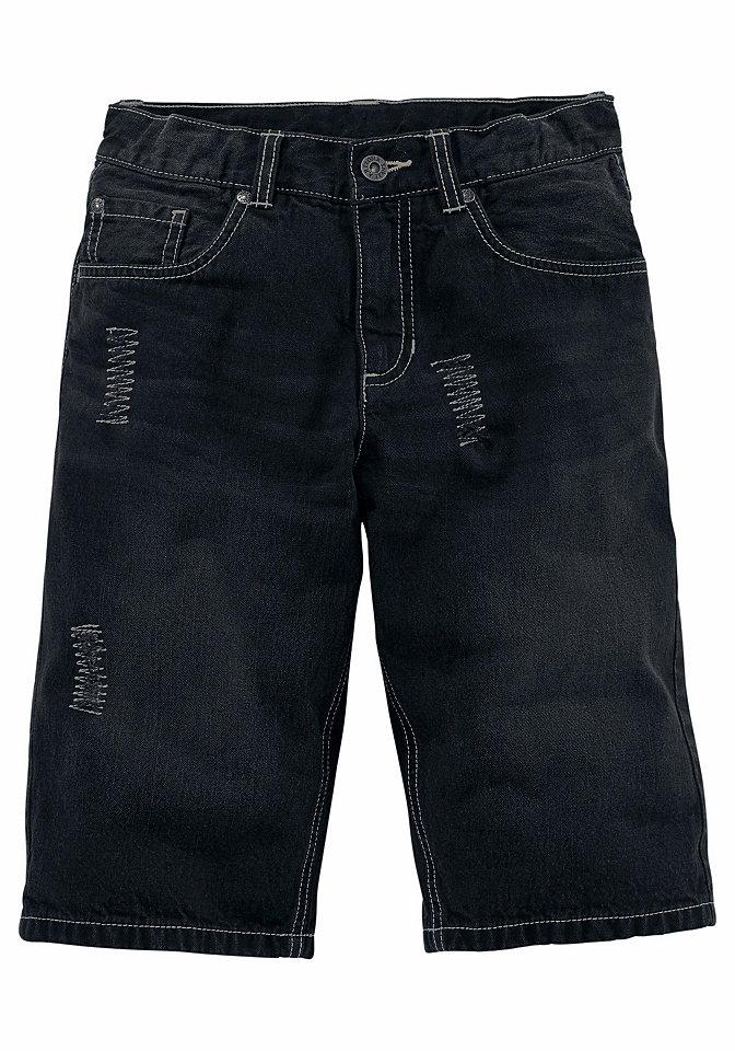 Джинсовые бермуды OttoБрюки и джинсы<br>Спереди декоративные протертости, стильная отстрочка, модный эффект стираности и декоративные складки. Прямой покрой. Регулируемый внутри пояс. На кнопке до размера 134.<br><br>Size DE: 152<br>Colour: черный<br>Gender: Мужской<br>Age: Детский<br>Material: Верх: 100% хлопок