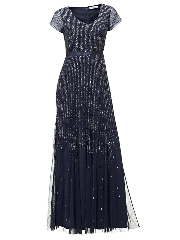 Вечернее платье OttoВечерние<br>Вечернее платье. Квинтэссенция роскоши: шикарное платье в пол, полностью расшитое сверкающими пайетками, сделает Вас настоящей королевой вечера! Глубокий V-образный вырез подчеркнет декольте, прозрачные короткие рукава привнесут пикантность. Изысканно струящаяся ткань и безупречный крой прекрасно обыгрывают фигуру, с помощью сатиновой ленты делая акцент на талии. Модель удобно застегивается на молнию сзади. Дизайн не требует вычурных украшений - только серьги или браслет. Купить вечернее платье с пайетками сможет только самая искушенная поклонница моды! Длина ок. 146 см.<br><br>Size DE: 44<br>Colour: синий<br>Gender: Женский<br>Age: Взрослый<br>Material: Подкладка: 100% полиэстер;Верх: 100% полиэстер