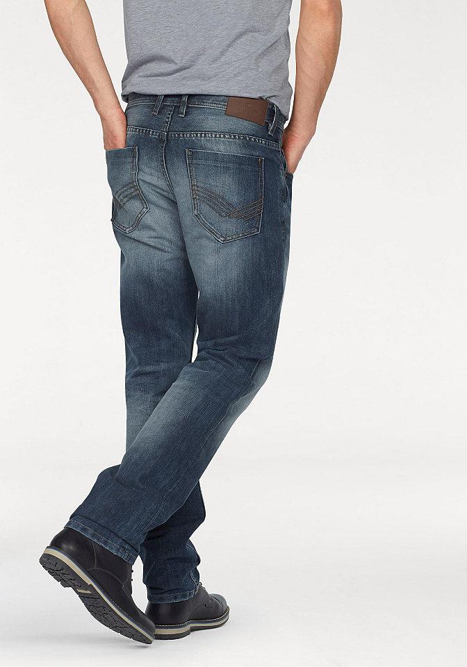 Джинсы с 5-ю карманам OttoПрямой покрой штанин<br>Стильная модель с пятью карманами и легким эффектом состаренности. Имеет застежку-молнию и логотип на поясе сзади. Выполнена из комфортного денима. Посадка: заниженная. Края брюк: с прострочкой. Покрой: зауженный покрой. Покрой/длина: длинные. Тип застежки: молния.<br><br>Size DE: 38<br>Colour: синий<br>Gender: Мужской<br>Age: Взрослый<br>Material: Верх: 61% хлопок / 39% полиэстер