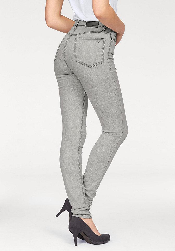 Джинсы-дудочки OttoДжинсы «дудочки»<br>Хотите быть в тренде? Выбирайте узкие джинсы от марки Arizona. Модель с высокой талией смотрится очень стильно, а главное, помогает выглядеть стройнее. Джинсы совершенно универсальны для комбинирования - подойдут как к летним топам, так и к актуальным объемным свитерам, а деним стрейч обеспечит чувство комфорта на весь день. Джинсы-дудочки от марки Arizona - то, что вы искали! Длина брючин по внутреннему шву размера 38 ок. 79,5 см.<br><br>Size DE: 21<br>Colour: серый<br>Gender: Женский<br>Age: Взрослый<br>Material: Верх: 79% хлопок / 19% полиэстер / 2% эластан