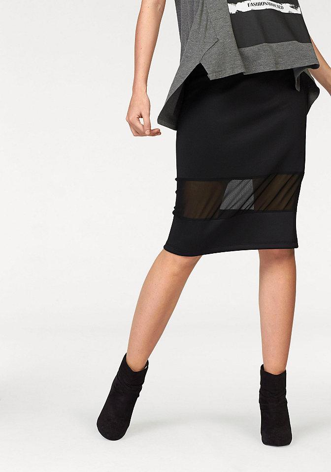 Юбка OttoЮбки<br>Креативное решение для вашего гардероба - юбка от Aniston! Модель фасона карандаш из мягкого джерси плавно облегает фигуру и подчеркивает ее изгибы. Сдержанность дизайна разбавлена широкой полупрозрачной вставкой из сеточки. Юбку дополняет эластичный пояс, обеспечивающий оптимальную посадку. Для вечеринки и на каждый день - создавайте яркие образы с юбкой от Aniston! Длина для размера 36 ок. 68 см.<br><br>Size DE: 34<br>Colour: черный<br>Gender: Женский<br>Age: Взрослый<br>Material: Сеточка: 100% полиэстер;Верх: 95% полиэстер / 5% эластан