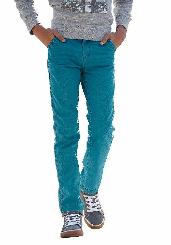 Брюки OttoБрюки и джинсы<br>Обязательный компонент гардероба для мальчика - брюки из твила. Прямая модель из чистого хлопка прекрасно комбинируется с любыми футболками и рубашками благодаря своей лаконичности. Пояс внутри можно регулировать. Модными штрихами служат потертый эффект и декоративные швы. Застегиваются на пуговицу и молнию. Материал: 100% хлопок.<br><br>Size DE: 164<br>Gender: Мужской<br>Age: Детский<br>Material: Верх: 100% хлопок