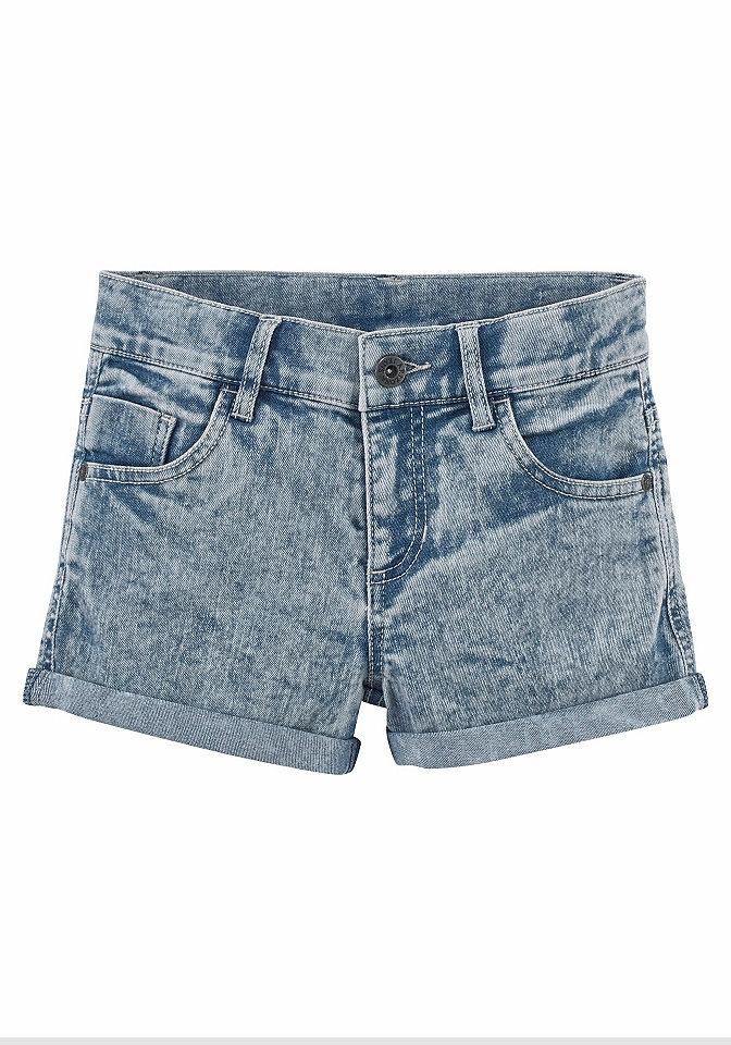 Шорты OttoБрюки и джинсы<br>Джинсовые шорты от марки Arizona выполнены из мягкого денима-стрейч с неповторимым рисунком варенка. Шорты прекрасно сидят благодаря регулируемому поясу (до размера 146, до размера 134 - на кнопке). 5 карманов и узкие отвороты дополняют непринужденный дизайн. Шорты отлично смотрятся с любыми топами и футболками - лучший выбор на лето. Материал: 75% хлопок, 24% полиэстер, 1% эластан.<br><br>Size DE: 134<br>Colour: синий<br>Age: Детский<br>Material: Верх: 75% хлопок / 24% полиэстер / 1% эластан