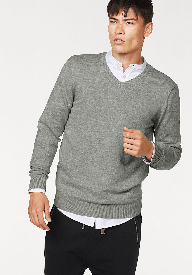 Пуловер OttoУличная одежда<br>Базовый пуловер с V-образным вырезом. 50 % хлопка, 50 % полиакрила.<br><br>Size DE: M<br>Colour: серый<br>Gender: Мужской<br>Age: Взрослый<br>Material: Серый меланж (верх): 100% хлопок