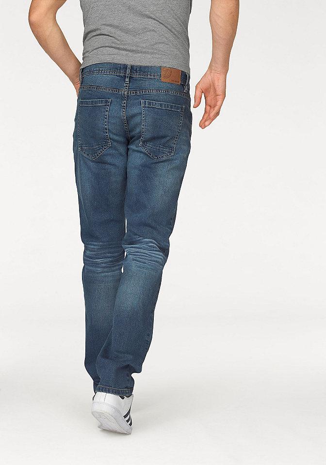 Джинсы-стрей OttoПрямой покрой штанин<br>Стильные джинсы марки John Devin, изготовлены из хлопка с добавлением эластана. Комфортный материал с потертостями. Тип изделия: эластичные джинсы. Тип застежки: молния. Нормальный крой. Низкая посадка. Прямая форма брючин. Рекомендуется машинная стирка. Лицевой материал: 98% хлопок, 2% эластан.<br><br>Size DE: 30<br>Colour: синий<br>Gender: Мужской<br>Age: Взрослый<br>Material: Верх: 98% хлопок / 2% эластан