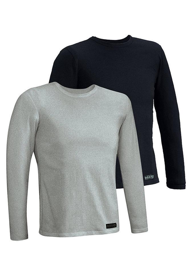 Футболка с длинным рукавом, H.I.S. Underwear (2 шт.) OttoФутболки<br>Красивое базовое бельё с превосходной посадкой - на каждый день. Верхние части - узкого покроя. Эластичный хлопок. Высококачественная пряжа. Повышенное удобство носки. Из сверхэластичного и приятного одинарного джерси: 95 % хлопка, 5 % эластана.<br><br>Size DE: S<br>Colour: серый<br>Gender: Мужской<br>Age: Взрослый<br>Material: Верх: 95% Baumwolle_(unterst?tzt_Cotton_made_in_Africa) / 5% эластан