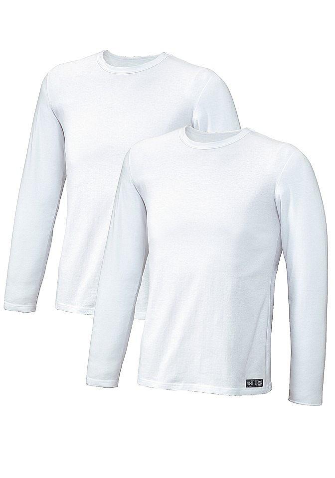 Футболка с длинным рукавом, H.I.S. Underwear (2 шт.) OttoФутболки<br>Красивое базовое бельё с превосходной посадкой - на каждый день. Верхние части - узкого покроя. Эластичный хлопок. Высококачественная пряжа. Повышенное удобство носки. Из сверхэластичного и приятного одинарного джерси: 95 % хлопка, 5 % эластана.<br><br>Size DE: M<br>Colour: белый<br>Gender: Мужской<br>Age: Взрослый<br>Material: Верх: 95% Baumwolle_(unterst?tzt_Cotton_made_in_Africa) / 5% эластан