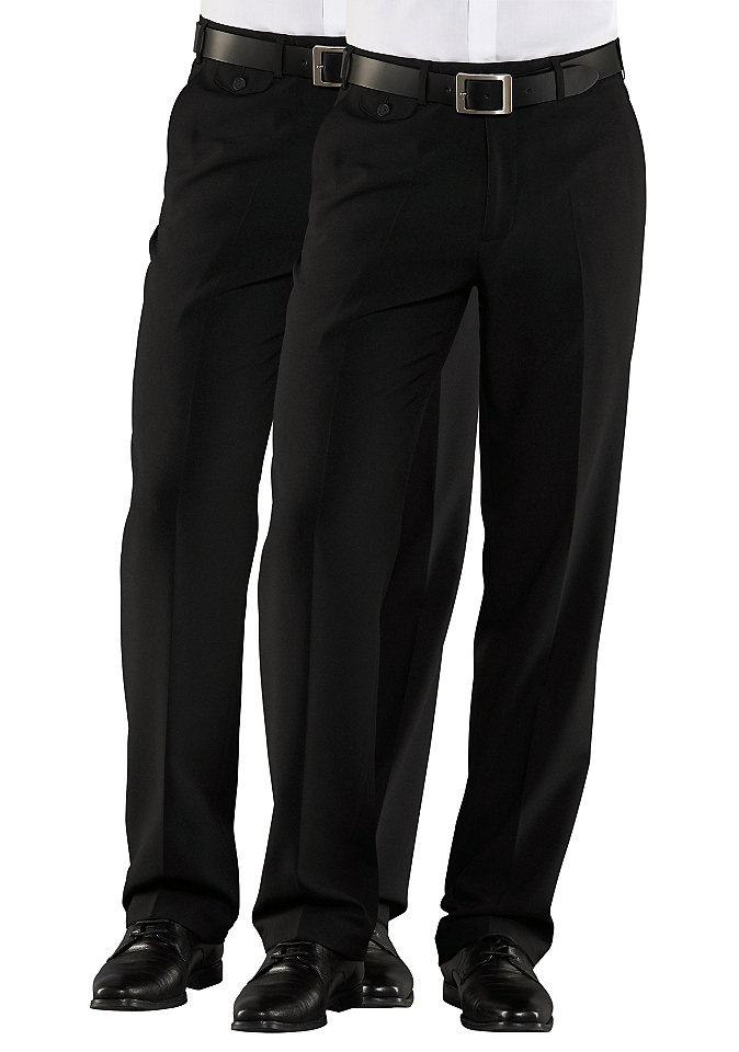 Брюки (2 шт.) OttoБрюки<br>С благородным блеском. Два втачных кармана, потайной карман и карман для мелочи, два задних кармана на пуговицах. Прямой покрой, без отворота, перманентная стрелка. Стирающийся материал. Эластичный пояс, из 100 % полиэстера, плотный стретч. Немнущийся материал.<br><br>Size DE: 102<br>Colour: черный<br>Gender: Мужской<br>Age: Взрослый<br>Material: Верх: 100% полиэстер