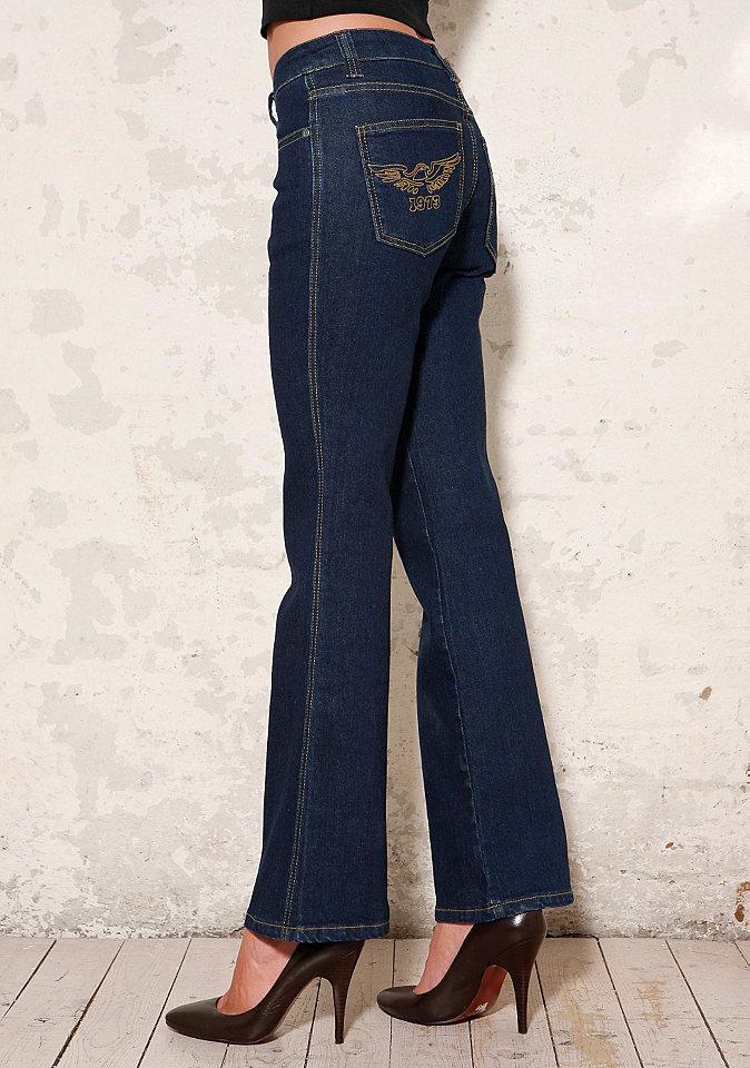 Джинсы стретч «Lulu» OttoПокрой Bootcut<br>Отличные джинсы удачно скрывают небольшие проблемные зоны и выгодно подчёркивают достоинства Вашей фигуры. Слегка расклешённый покрой с 5 карманами. Слегка смещённые задние карманы с вышивкой в виде орла. Длина по внутреннему шву ок.: Н-разм. 83,5 см, М-разм. 78,5 см, Б-разм. 90,5 см. Низкая посадка. Эластичный деним отличного качества из 98 % хлопка, 2 % эластана.<br><br>Size DE: 36<br>Colour: синий<br>Gender: Женский<br>Age: Взрослый<br>Material: Верх: 98% хлопок / 2% эластан