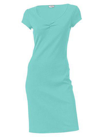 Трикотажное платье OttoЛетние<br>Красивая летняя базовая модель в элегантном стиле. V-образный вырез с изящной драпировкой и узкая окантовка по нижнему краю. Длина ок. 98 см. Покрой отлично подчёркивает фигуру. 95 % хлопка, 5% эластана. Серый меланж: 65 % хлопка, 30 % полиэстера, 5 % эластана. Машинная стирка.<br><br>Size DE: 34<br>Colour: синий<br>Gender: Женский<br>Age: Взрослый<br>Material: Верх: 95% хлопок / 5% эластан