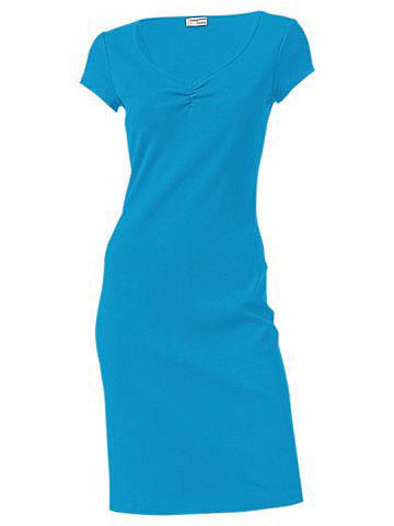 Трикотажное платье OttoЛетние<br>Красивая летняя базовая модель в элегантном стиле. V-образный вырез с изящной драпировкой и узкая окантовка по нижнему краю. Длина ок. 98 см. Покрой отлично подчёркивает фигуру. 95 % хлопка, 5% эластана. Серый меланж: 65 % хлопка, 30 % полиэстера, 5 % эластана. Машинная стирка.<br><br>Size DE: 38<br>Colour: синий<br>Gender: Женский<br>Age: Взрослый<br>Material: Верх: 95% хлопок / 5% эластан