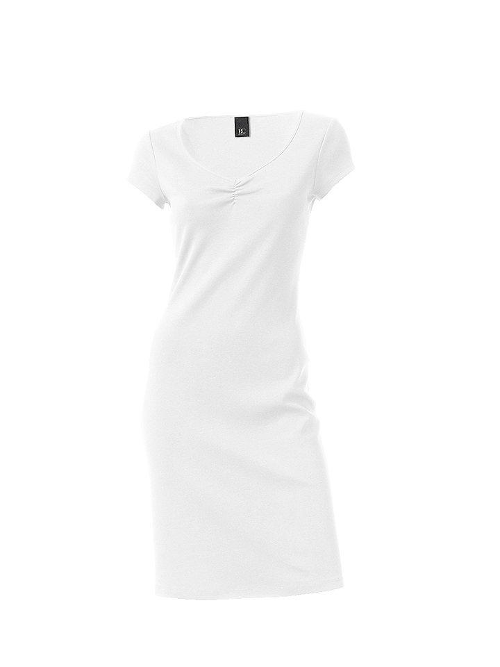 Трикотажное платье OttoЛетние<br>Красивая летняя базовая модель в элегантном стиле. V-образный вырез с изящной драпировкой и узкая окантовка по нижнему краю. Длина ок. 98 см. Покрой отлично подчёркивает фигуру. 95 % хлопка, 5% эластана. Серый меланж: 65 % хлопка, 30 % полиэстера, 5 % эластана. Машинная стирка.<br><br>Size DE: 34<br>Colour: белый<br>Gender: Женский<br>Age: Взрослый<br>Material: Верх: 95% хлопок / 5% эластан