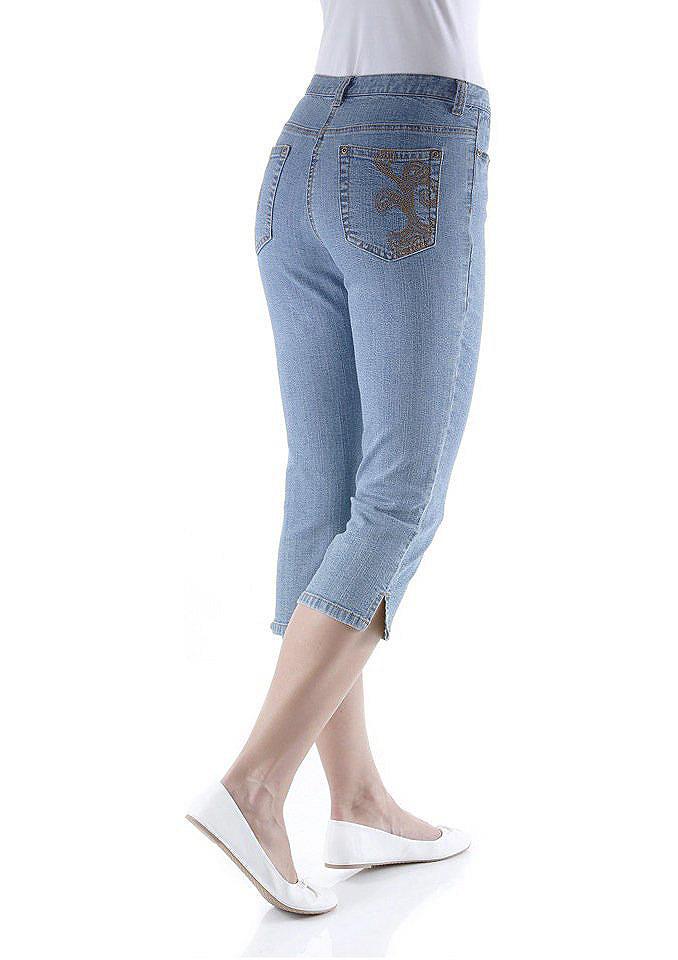 Джинсы 3/4 OttoКапри &amp; длина ?<br>Джинсовые капри для женщин, купить которые можно в нашем интернет-магазине одежды, станут отличным летним вариантом! Узкая лаконичная модель с небольшими разрезами на брючинах внизу и поясом со шлевками декорирована контрастной вышивкой на накладных карманах сзади. Спереди втачные карманы и застежка-молния с пуговицей. Материал-стрейч не сковывает движения. Женские джинсы 3/4, топ или футболка и удобная обувь - летний повседневный комплект готов! Длина по внутреннему шву ок. 50 см.<br><br>Size DE: 40<br>Colour: синий<br>Gender: Женский<br>Age: Взрослый<br>Material: Верх: 98% хлопок / 2% эластан