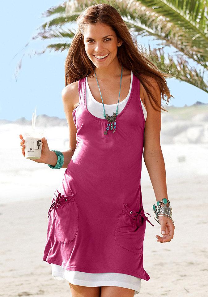 Пляжное платье, Beach Time OttoПлатья и Юбки<br>Модный и очень удобный, свободный покрой! Эффект «2-в-1»: двухслойный стиль с нижним платьем. Драпировка на вырезе, два втачных кармана с декоративной драпировкой и лентами. Длина ок. 88 см. Струящийся мягкий материал из 100 % вискозы.<br><br>Size DE: 34<br>Colour: красный<br>Gender: Женский<br>Age: Взрослый<br>Material: Комбинация: 100% вискоза;Верх: 100% вискоза