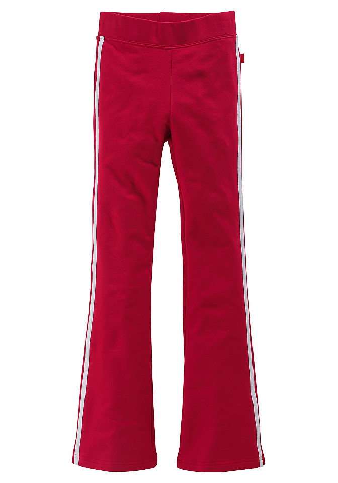 Спортивные брюки OttoСтильные спортивные брюки с контрастными полосами по бокам. Слегка расклешённый покрой. Удобный трикотаж из био-хлопка с долей стретча. Прекрасные базовые расцветки на любой вкус! Пояс на сплошной резинке. Всё из 95 % хлопка + 5 % эластана, все расцветки из материала без примесей. (Био-хлопок со знаком PURE WEAR).<br><br>Size DE: 182<br>Colour: красный<br>Age: Детский<br>Material: Верх: 89% Baumwolle_(unterst?tzt_Cotton_made_in_Africa) / 6% полиэстер / 5% эластан