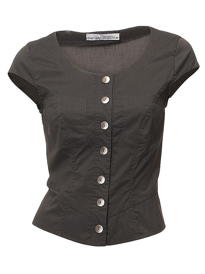 Блузка OttoВесы<br>Шикарный короткий покрой с цельнокроеными рукавами и 2 карманами на линии груди. Со стильной шнуровкой на спине. Закруглённый нижний край. Длина ок. 48 см. Покрой отлично подчёркивает фигуру. Из 97 % хлопка, 3 % эластана. Машинная стирка.<br><br>Size DE: 36<br>Colour: серый<br>Gender: Женский<br>Age: Взрослый<br>Material: Верх: 97% хлопок / 3% эластан