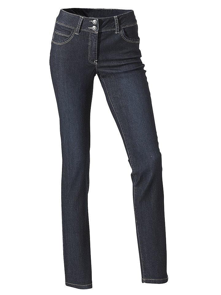 Моделирующие джинсы OttoПрямые<br>Корректирующие джинсы - настоящая находка для женщин! Благодаря особому покрою с вставкой из сеточки с усилением и широким поясом брюки визуально стройнят талию и живот и формируют эффект пуш-ап сзади. Модель декорирована лаконичной контрастной прострочкой . Застегивается на молнию и 2 пуговицы. Джинсы идеальны для комбинирования, поэтому купить их - правильное решение для каждой! Длина по внутреннему шву ок. 77 см (размер N) и ок. 71 см (размер К).<br><br>Size DE: 48<br>Colour: синий<br>Gender: Женский<br>Age: Взрослый<br>Material: Верх: 75% хлопок / 24% полиэстер / 1% эластан