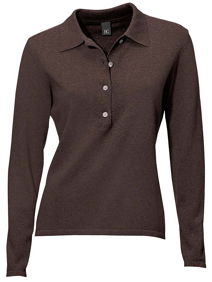 Пуловер-поло OttoОвен<br>Пуловер-поло. Длина ок. 58 см. 100% хлопка. Подчёркивающий фигуру покрой. Стирка.<br><br>Size DE: 38<br>Colour: коричневый<br>Gender: Женский<br>Age: Взрослый<br>Material: Верх: 100% Baumwolle_(mass_balance)