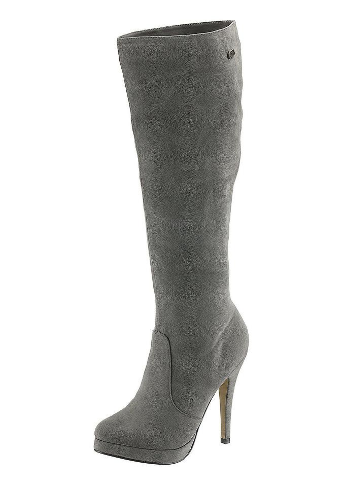 Сапоги на высоком каблуке OttoСапоги<br>Сапоги на высоком каблуке, Buffalo Girl. Искусственная кожа. Подкладка: текстиль. Стелька и подошва из синтетики, каблук высотой 11,5 см и платформа высотой 1,5 см. Ширина колодки: F (классическая), застёжка на молнию, высота голенища: 43 см, ширина голенища: 34 см для разм. 37<br><br>Size DE: 38<br>Colour: серый<br>Gender: Женский<br>Age: Взрослый