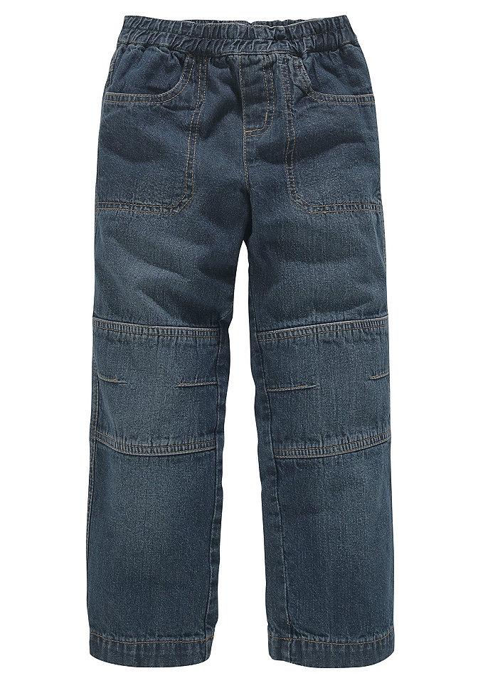 Джинсы без застёжки OttoБрюки и джинсы<br>Свободная посадка и прямой покрой. Легко надеваются и снимаются благодаря эластичному поясу на резинке. Два кармана сзади и два втачных кармана спереди. Особо прочная модель с двойными вставками на коленях. Из 100 % хлопка.<br><br>Size DE: 110<br>Colour: синий<br>Gender: Мужской<br>Age: Детский<br>Material: Верх: 100% хлопок