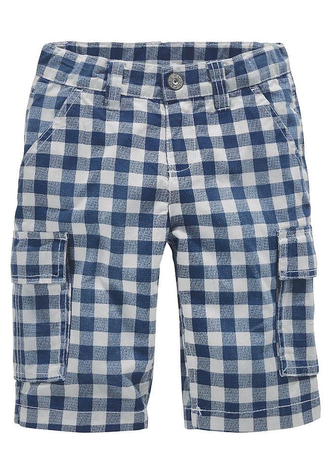 CFL, длинные бермуды в клетку, для мальчиков OttoСпортивная одежда<br>Бермуды от CFL с актуальным рисунком в клетку. До разм. 134 с кнопкой, регулируемый внутри пояс. 2 втачных кармана и 2 накладных кармана сзади. С карманами карго. Из 100 % хлопка.<br><br>Size DE: 110<br>Colour: синий<br>Gender: Мужской<br>Age: Детский<br>Material: Верх: 100% хлопок