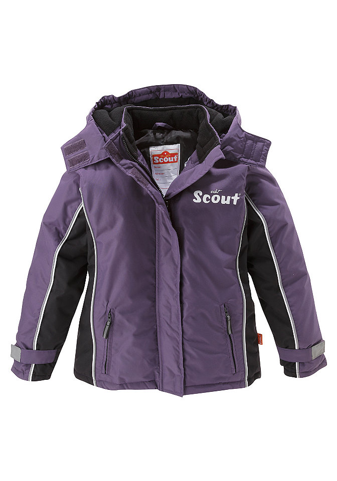 Лыжная куртка, Scout, лиловый цвет OttoБрюки<br>Прочная куртка лилового цвета. Капюшон с подкладкой из флиса можно отстегнуть. Большое количество функциональных деталей: Рукава с застёжкой-липучкой, защита от ветра снаружи и внутри. Потайная застёжка на молнию. Воротник закрывает подбородок. Карманы на молнии, клапаны со светоотражателями и небольшой принт «Scout» на груди. Внутренний карман и этикетка с названием бренда. Водонепроницаемый верхний материал, подкладка и утеплитель из 100 % полиэстера.<br><br>Size DE: 92<br>Colour: фиолетовый<br>Age: Детский<br>Material: Подбивка: 100% полиэстер;Подкладка: 100% полиэстер;Верх: 100% полиамид
